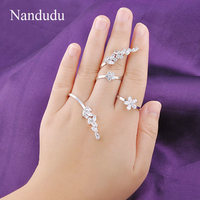 Nandudu 3 Fingers Rings High Level Cubic Zirconia Prong Setting Solver Palm Jewelry Gift Adjustable Size