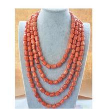 Массивное женское ожерелье из натурального розового коралла 13 х15 мм, длинная цепочка AAA + ручной работы, длинная цепочка для женской вечерин...