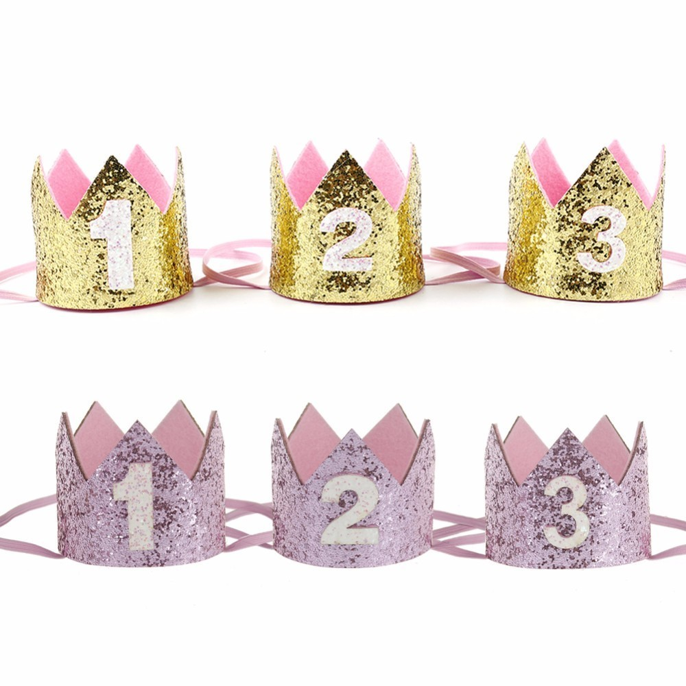 Boy Blue Silver First Birthday Hat Girl Gold Pink Princess Crown Number 1 2 3 Year Old Party Hat Glitter Birthday Headband