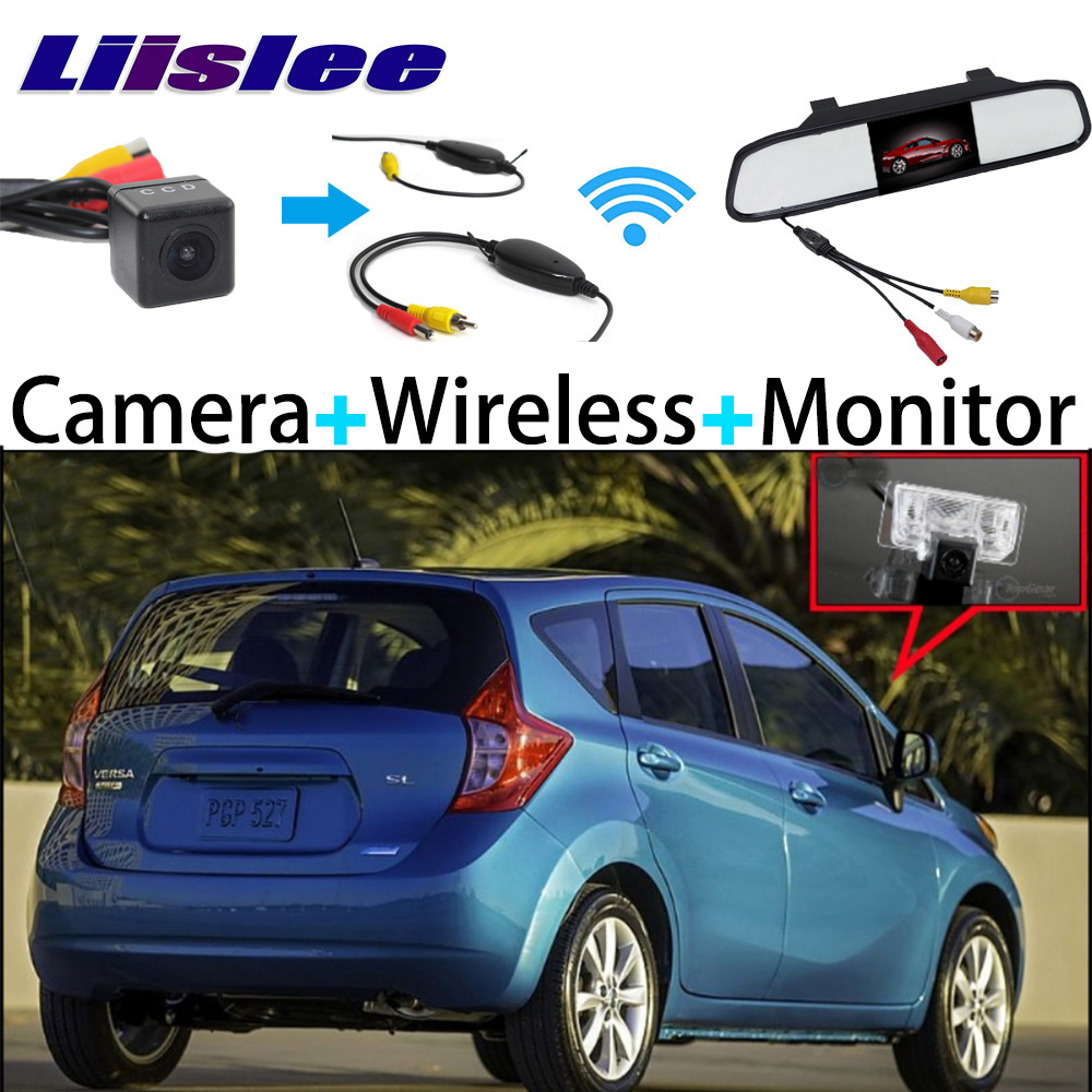 3 in1 Special Rear View Camera + Mirror Monitor Easy DIY Back Parking System + Wireless Receiver For Nissan Versa Note 2013~2016 special rear view wifi camera wireless receiver mirror monitor easy diy back up 3 in1 parking system for nissan terrano