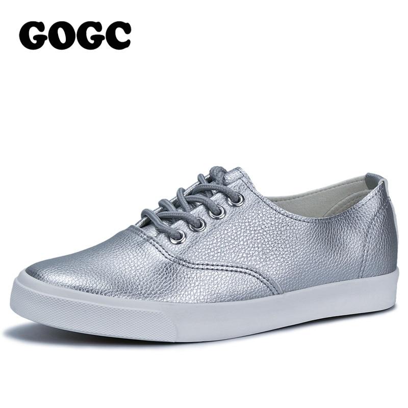 GOGC 2018 Шнурки кожаная обувь серебристая женская обувь на плоской подошве дышащие кроссовки женские летняя женская обувь кеды женские слипоны обувь для девочек