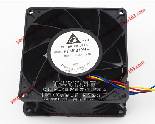 DELTA PFM0912HE, -F00 DC 12V 6.0A, 90x90x38mm 4-wire Server Square Cooling Fan
