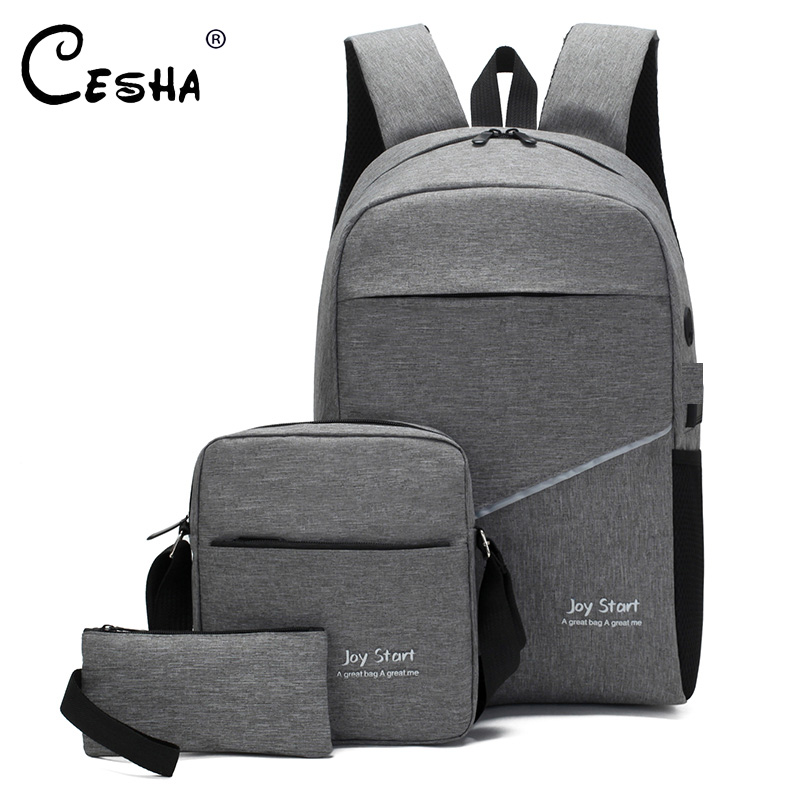 2019 New Design 3Pcs/Lot School Backpack High Quality Durable Canvas School Bag Fashion Casual Book Laptop Backpack For Teenager
