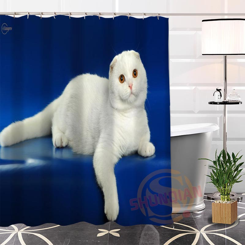 Best Nice Eco-friendly Custom Unique lovely CAT#5 Fabric Modern Shower Curtain bathroom Waterproof for yourself H0220-107