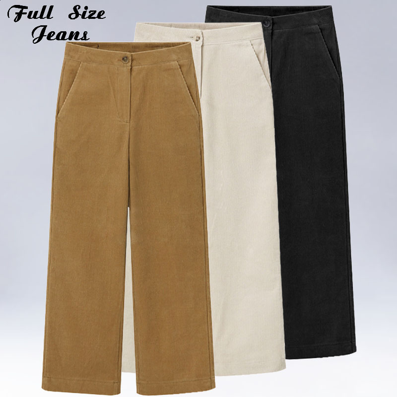 Plus Size 3Xl 5Xl Women Corduroy   Wide     Leg     Pant   Pantalon Mujer Button Fly Loose Straight Trousers Casual Sweatpants