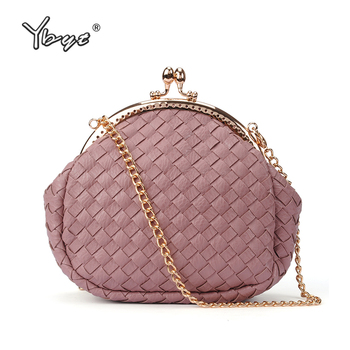 YBYT new weave small messenger  bags for women 2019 preppy style girls coin purses fashion ladies chain shoulder bags clutch bag new fashion women sweet cute ladies girls kids coin purses silicone wallet cartoon clutch purse chain mini bag small coin bags