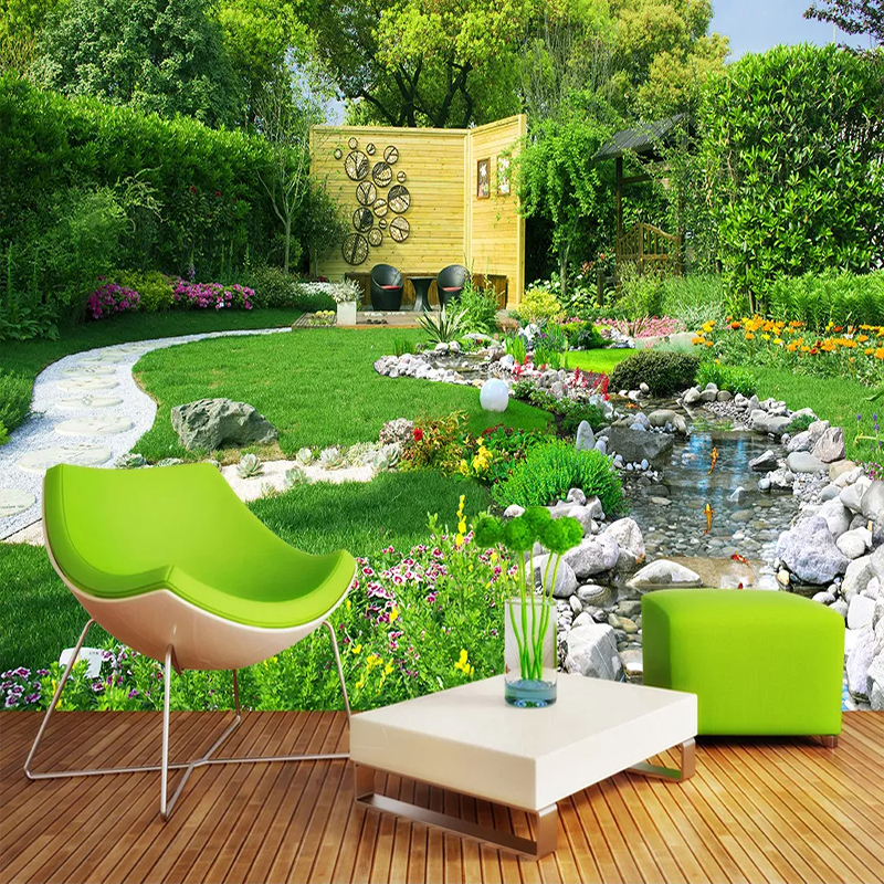 River Garden Nature Landscape Custom 3D Photo Wallpaper For Living Room Kitchen Restaurant Waterproof Self-adhesive Mural Paper