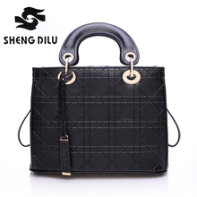 2016 New Arrival Elegant Diamond Lattice Lady's Handbags Fashion 100% Genuine Leather Women Tote Bags Women Shoulder Bag