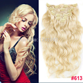 Clip In Human Hair Extensions #613 Bleach Blonde Brazilian Virgin Hair Body Wave Clip In Extension,7pcs Brazlian Clip Ins Hair
