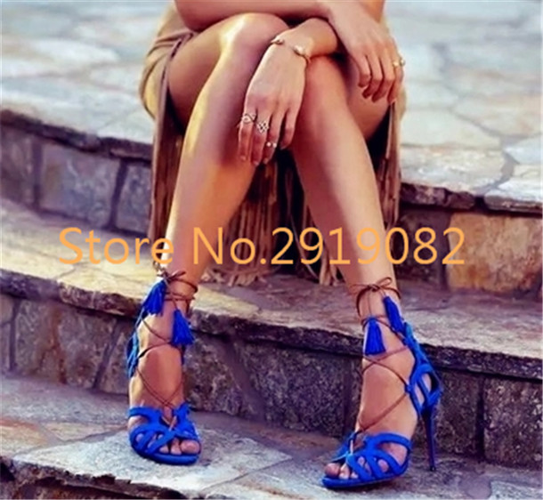 Sexy Black Green Available Cross-Strap Gladiator Style Women Sandals Tassels Back Zip Opening Pointed Toe Stilettos Summer Shoes