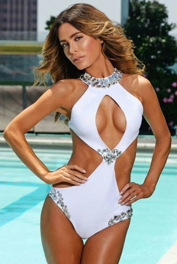 2018 Female Solid Luxury Rhinestone High Neck Cut Out Swimsuit Sexy One Piece Monokini Diamond Bathing Suit
