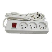 Toma de corriente estándar francés europeo, 3AC, enchufe francés con interruptor, toma de corriente de 16A y 250V, cable de extensión de 2,5 M