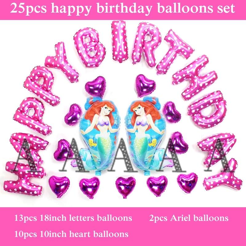 Ariel princess balloon foil happy birthday balloons set party letter balloon bir
