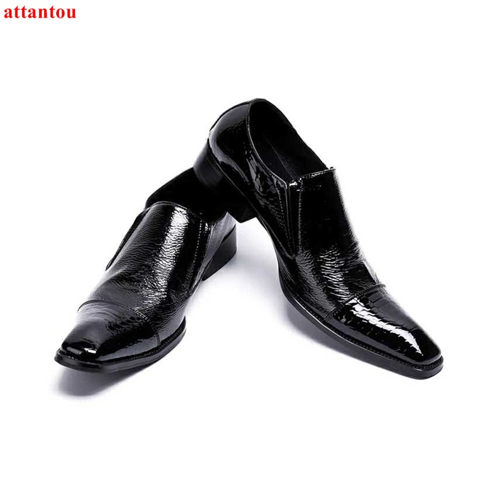 Hot Sale Autumn Square Toe Men Dress Shoes Black Leather Shoes Luxury Male Casual Shoes Slip-on Man Office Feast Formal Shoes hot sale blue snakeskin pointed toe men dress shoes lace up leather shoes luxury male casual shoes man office feast formal shoes