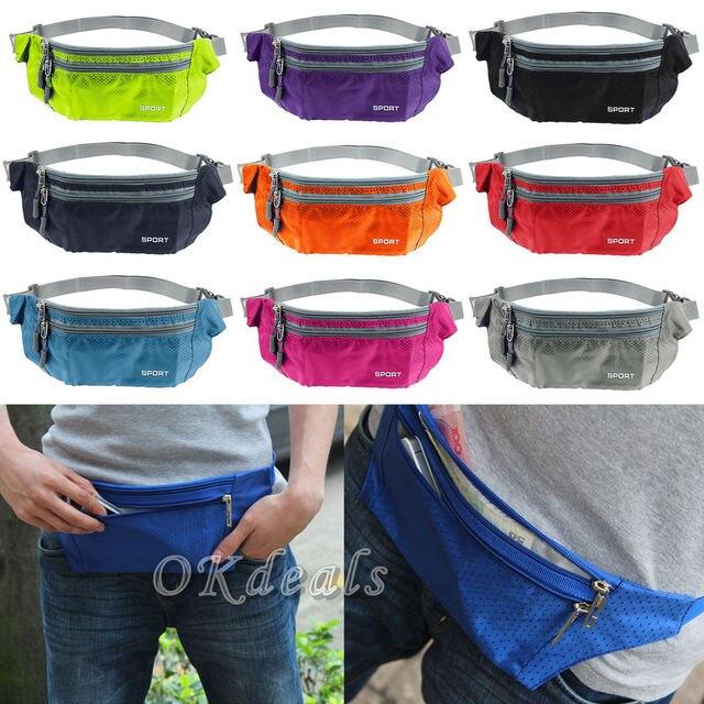 Nuevo Casual hombres mujeres cintura paquetes cinturón Bum cintura bolsa riñonera ocio Zip bolsa