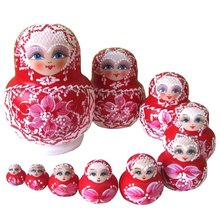 10 PCS En Bois Poupées Russes Tresse Fille Traditionnel Matryoshka Poupées rouge