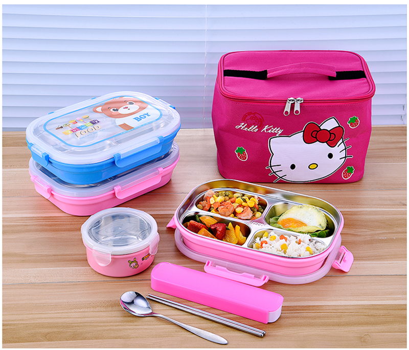 Hello Kitty Deraemon Cartoon Food Container Thermos Children School Picnic Portable Bento Lunch Boxes Rectangle Plastic Stainless Steel 23