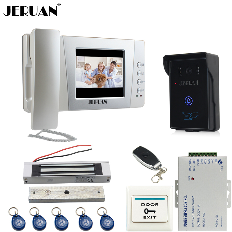 JERUAN Home wired 4.3`` LCD Video Door Phone intercom System Kit +touch key 700TVL RFID Waterproof IR Night vision Camera jeruan home wired 7 lcd video door phone intercom system 700tvl rfid waterproof touch key password keypad camera free shipping