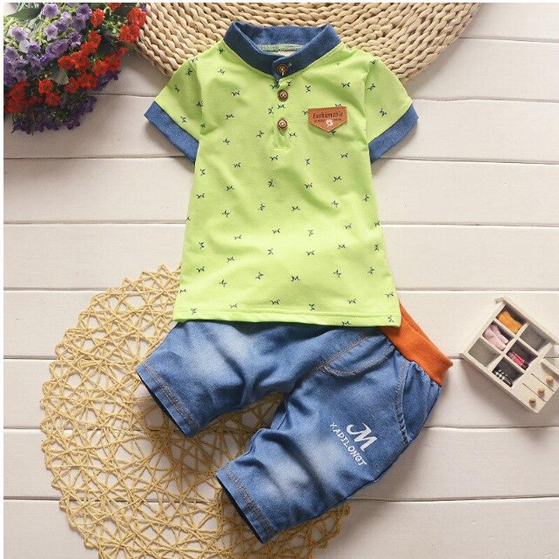 2 3 4 5 ano Meninos Roupas de Verão de Algodão Casual Crianças Roupas Set O Pescoço Impresso T-shirt Shorts Crianças Ternos para meninos