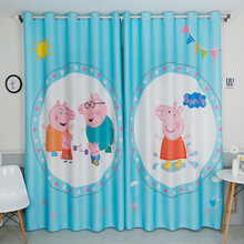 Personal Tailor 2x Grommet Drapery Drape Curtain Nursery Kids Children Room Window Dressing 200cm x 260cm Peppa Piggy Pink Blue