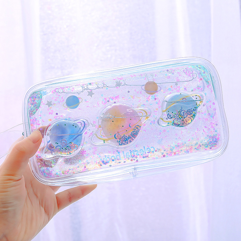 1Pc Transparent Pvc Universe Cherry Blossom Cute Large Pencil Bag For Girls Kids Office School Supplies Case Kawaii Stationery