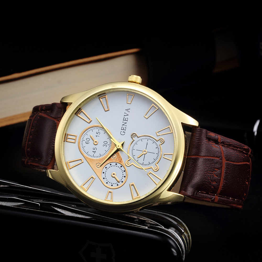 GEMIXI Geneva Watch Men Retro Design PU Leather Band Three Eyes Analog Alloy Quartz Wrist Watch Relogio masculino montre homme