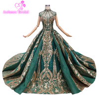 New Design 2019 Talesses Long Prom Dresses Gorgeous Ball Gown High Neck Lace Beaded Crystals African Green Gold Prom Dress