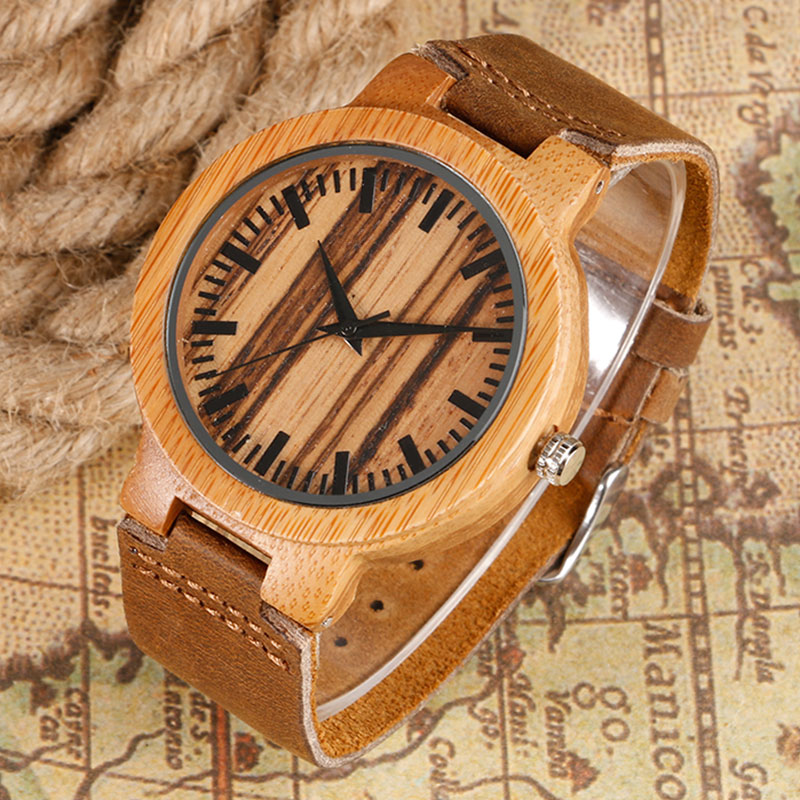 Fashion Unique Design Wooden Watches with Brown Leather Band Light Bamboo Women Men's Wristwatch relojes de madera