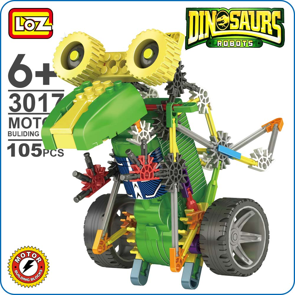 LOZ ideas Motor Building Blocks Robotic Tyrannosaur Robot T Rex Action Dinosaur Model Toys DIY Battery