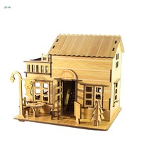 Kids 3d Educational Puzzle Children Adult Diy Wooden Stereoscopic Toys 2017 Boutique European Style Coffee House