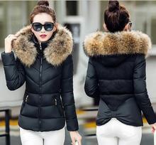 2016 новый зимний высокое качество теплая вниз хлопка куртка женщин короткий дизайн большой меховой воротник ватные пальто и пиджаки T544