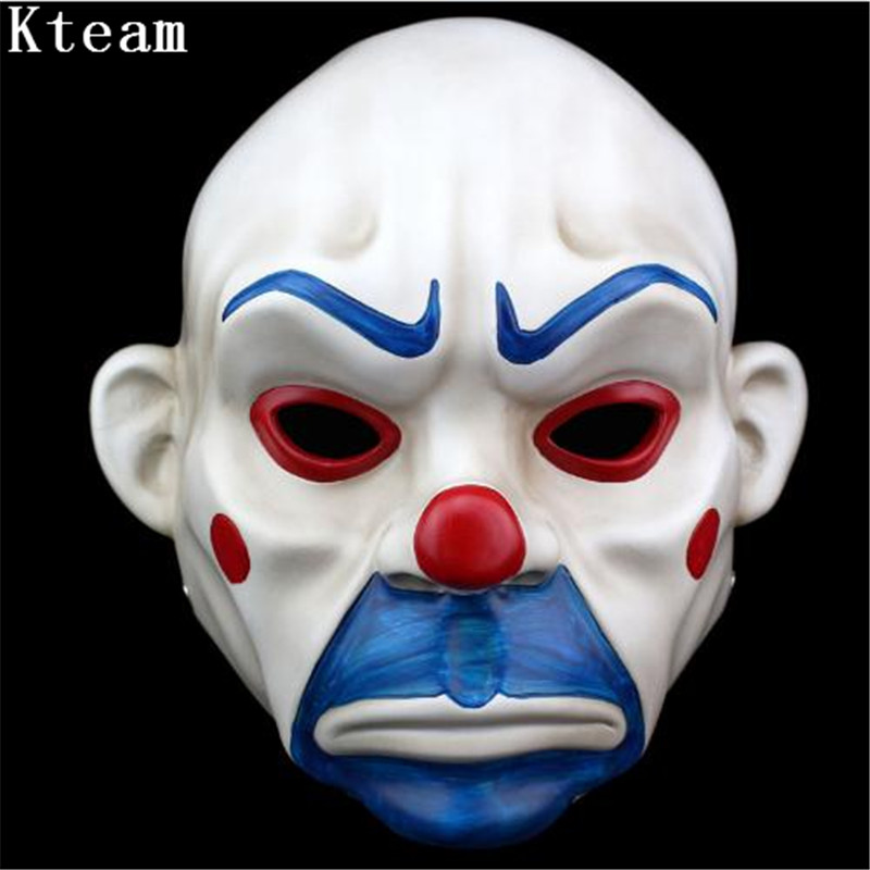 2019 Adult Top Grade Resin Joker Bank Robber Mask Clown Batman Dark Knight Halloween Prop Masquerade Party Costume Fancy Dress