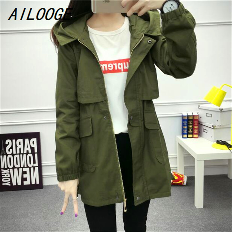 AILOOGE 2017 New Fashion Autumn Hooded Bomber   Basic     Jackets   Women Coat Windbreaker Long Sleeve Black/Army Green Spring   Jacket
