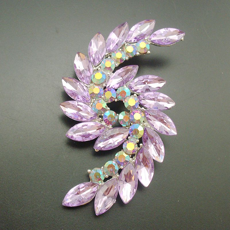 1 Piece Elegant Fashion Purple Crystal Rhinestone Silver Plated Statement  Double Spiral Brooches Pins For Women, Item: BH7613