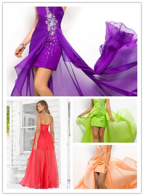 Purple 2014 High Low Blue Chiffon Slim Short Front Long Back Gown ...