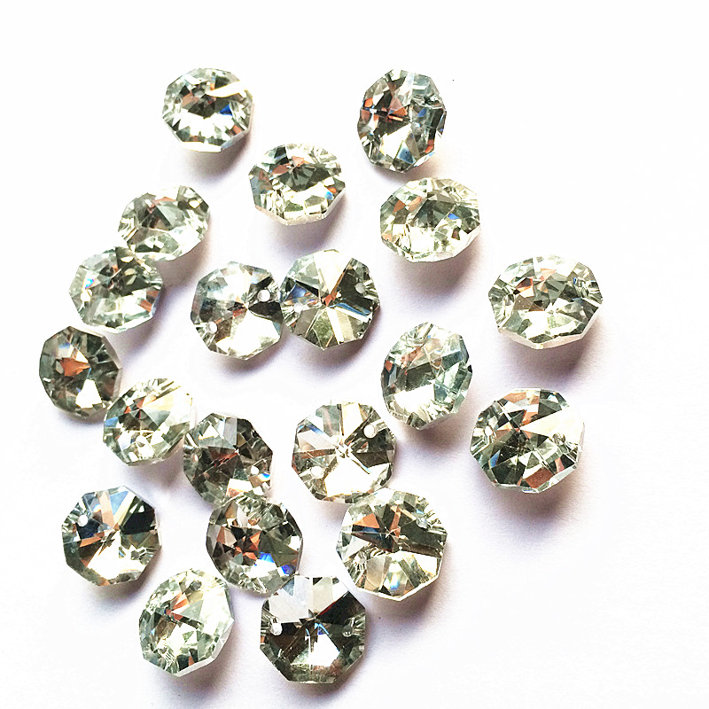 100pcs Plated Silver Back 14mm Crystal Octagon Chandelier Accessories In Two Holes (Free Rings) Diy Crystal Glass Curtain Beads