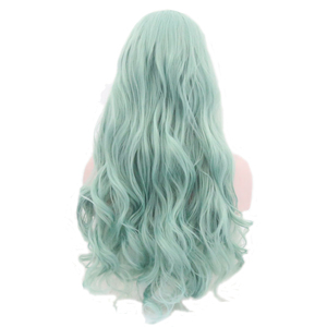 Image 4 - JOY&BEAUTY Mint Green Body Wave Synthetic Lace Front Wigs Glueless Heat Resistant Fiber Hair Natural Hairline Side Part For Wome