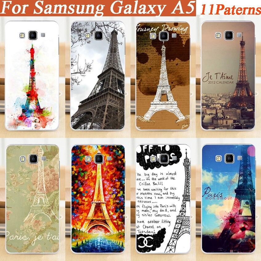 DIY divertido Torre Eiffel Impresión de caso diseñado para Samsung Galaxy A5 de plástico duro para Samsung Galaxy A5