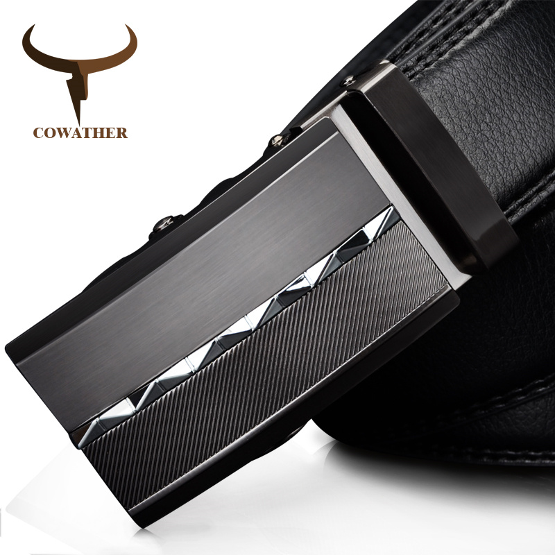 COWATHER 2019 Cow Genuine Leather Luxury Men Belts For Men For Business Automatic Alloy Buckle Ceinture Homme Casual Business