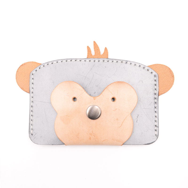 Handmade purse diy material package creative  mini card package semi-finished genuine  leather monkey pattern true leather DIY