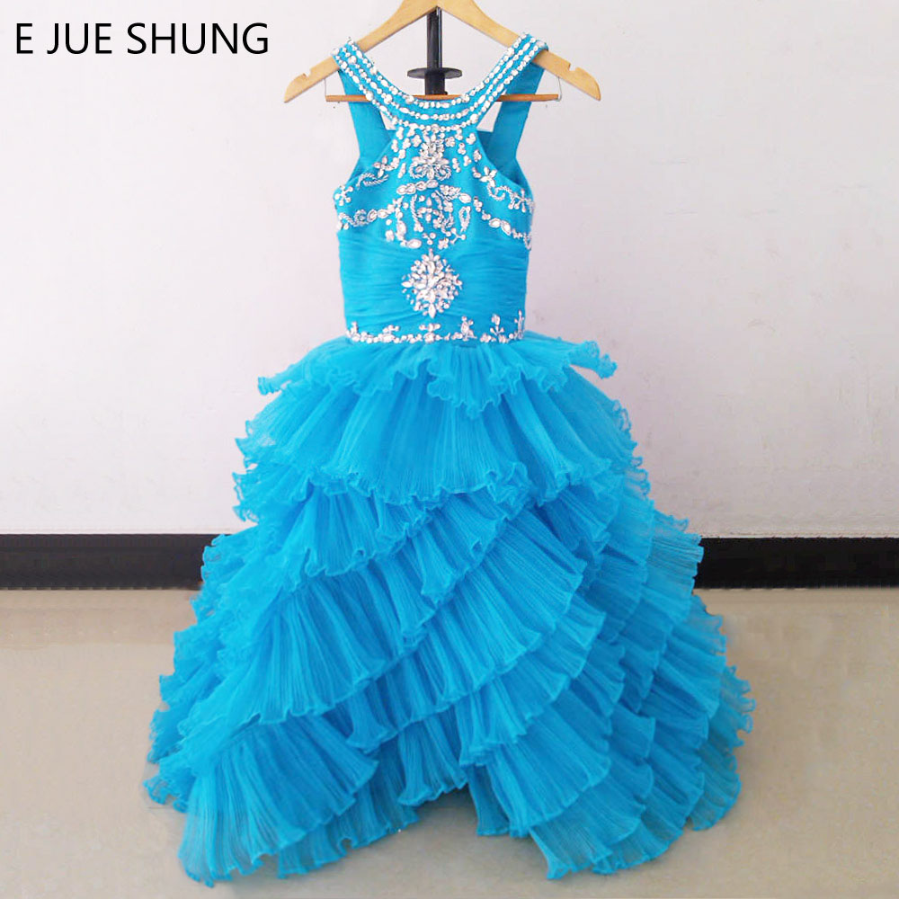 E JUE SHUNG Blue Pleated Organza Tiered Ball Gown Long   Flower     Girl     Dresses   First Communion   Dresses   for   girls   Pageant   Dresses