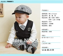 New Baby boys clothing sets 100% cotton plaid print newborn 5pcs sets cap+shirt+tank+pants+tie baby autumn suit