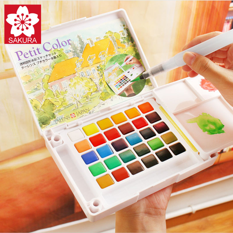 SAKURA 36/48/60/72Color Watercolor Painting Box,Portable Solid Petit Watercolor Paint Set Outdoor, Art Drawing Painting Supplies