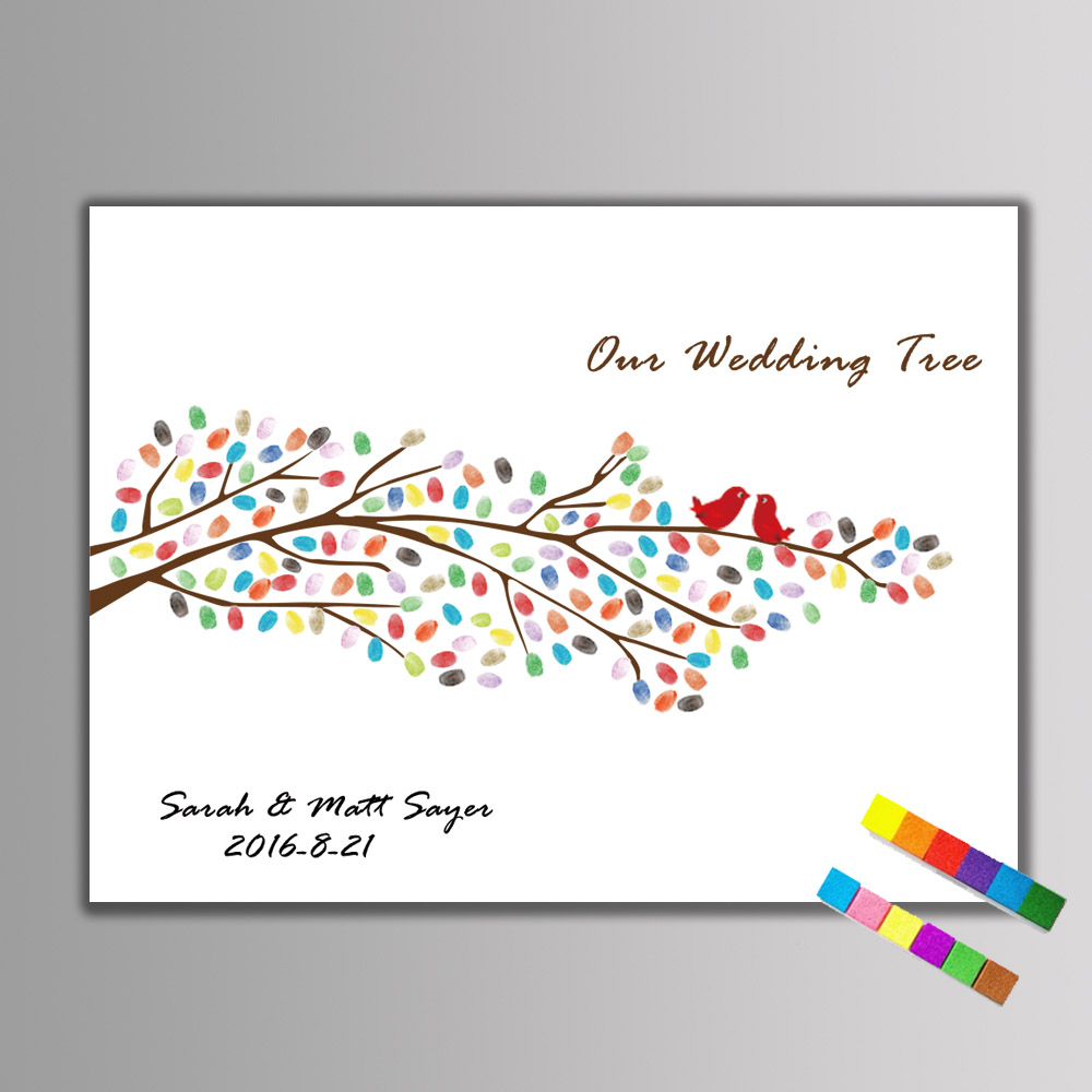 1 set Fingerprint Wedding Tree Painting DIY Wedding Guest Book Fingerprint Signature Canvas Painting Wedding Party Decoratation