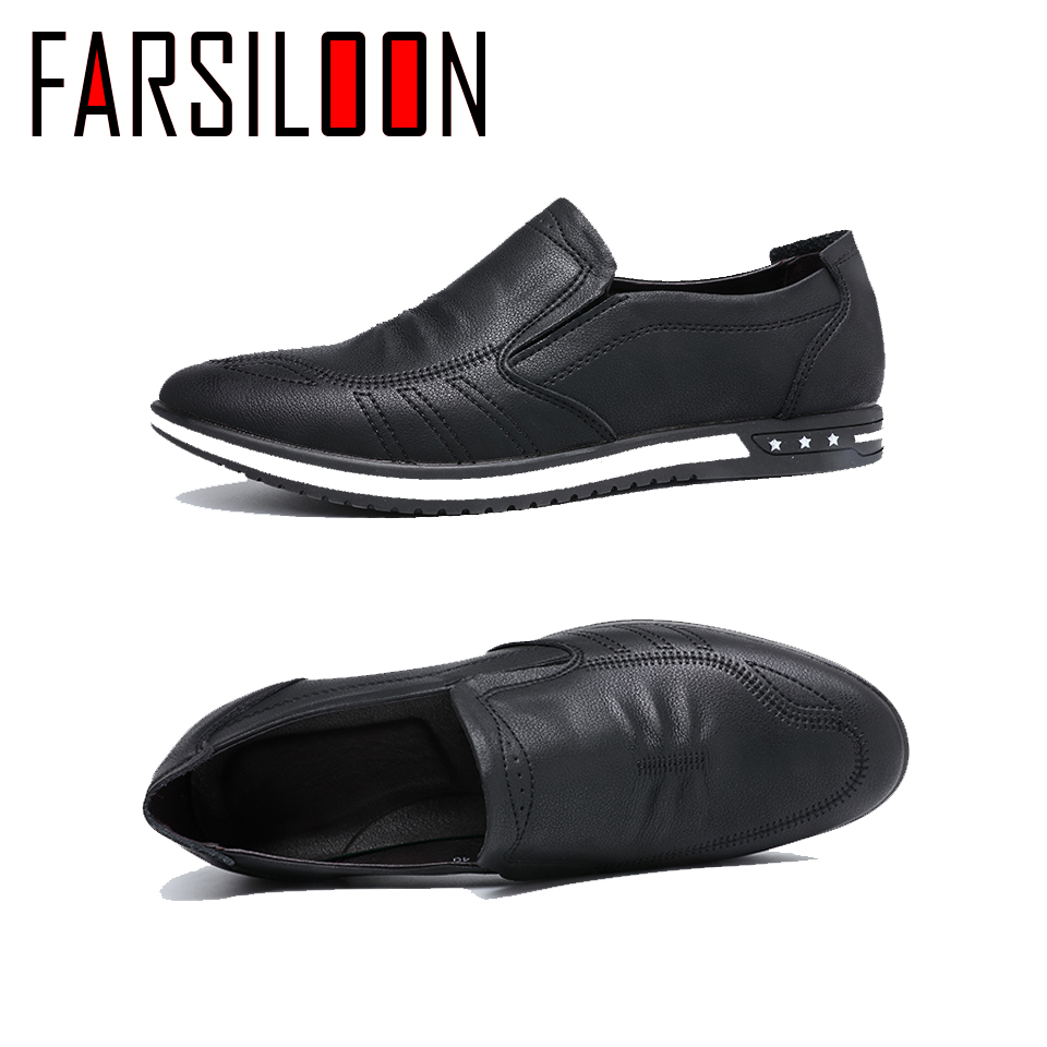 Casual Leather Men Shoes New 2018 Fashion Man Shoes Male Sneakers Slip-On High Quality Spring And Autumn Big Size NP103