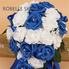 PE Foam Flower Artificial Bridal Bouquets Crystal Bridesmaid Bridal Wedding Bouquets Water Drop Shaped Turquoise Royal Blue