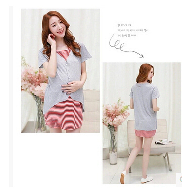 2015 new  nursing clothing spring and summer fake second pieces  cotton top maternity nursing clothes clothing nursing