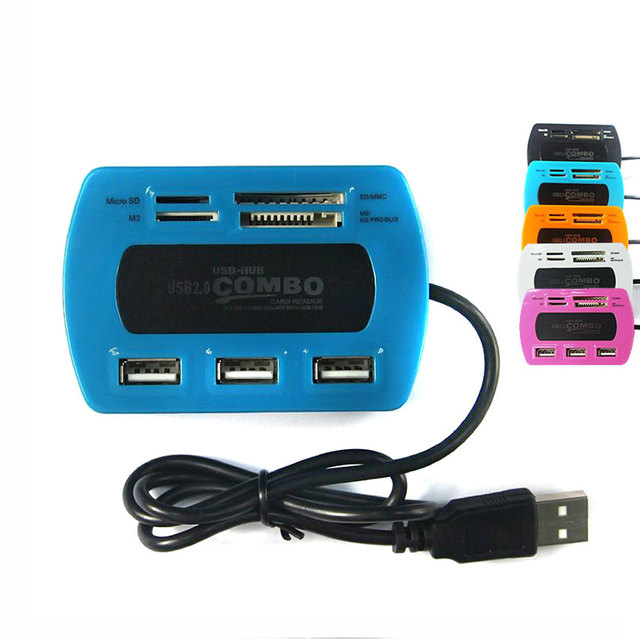 Leadzoe 3-Port Hub USB 2.0 com TF/SD/M2/MS Leitor de Cartão Multifuncional All-in-1 USB 2.0 7 Slots USB COMBO