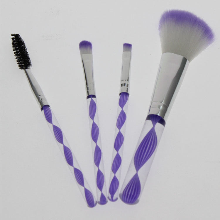 4 stks paars haar en handvat goede kwaliteit pro goedkope reizen gezicht cosmetische make-up make-up borstel set kit
