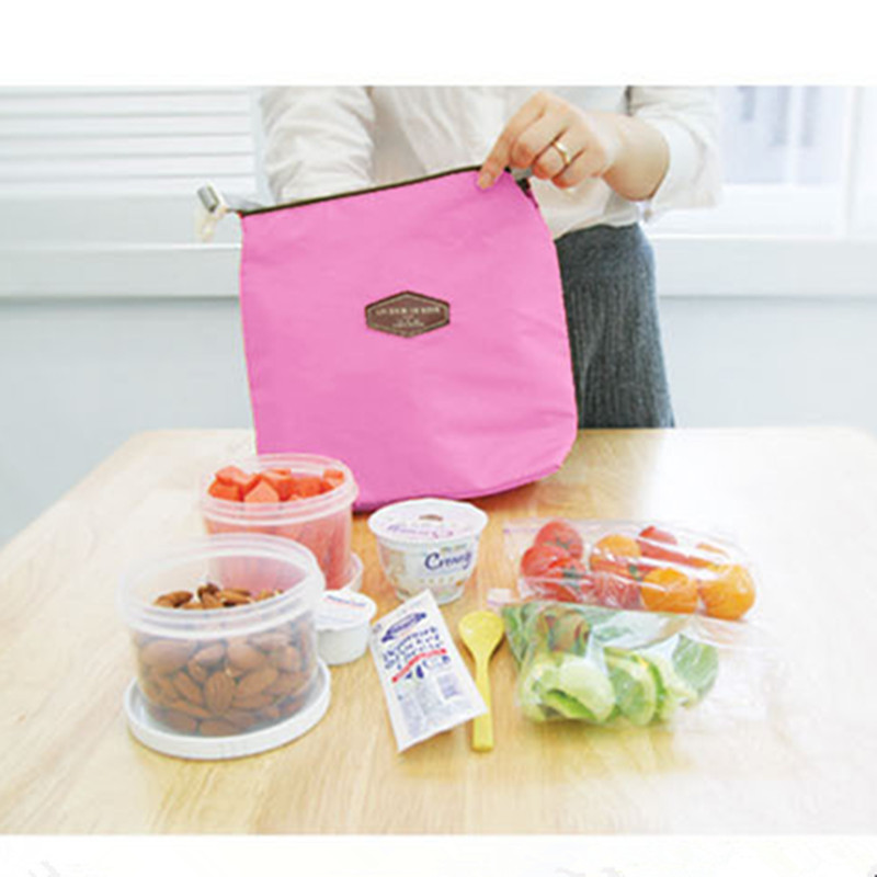 Casual Bento Thermal Insulated Cooler Dining Travel Picnic Bag Pink Oxford Cloth Lunch Pouch Bag in Lunch Bags from Luggage Bags
